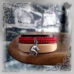 Bracelet cuir et macramé & Licorne