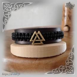 Bracelet cuir et macramé Valknut Bronze