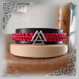 Bracelet cuir et macramé Valknut Argent