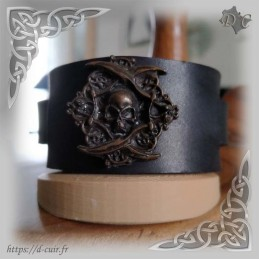 Bracelet cuir noir biker