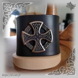 Bracelet cuir noir concho